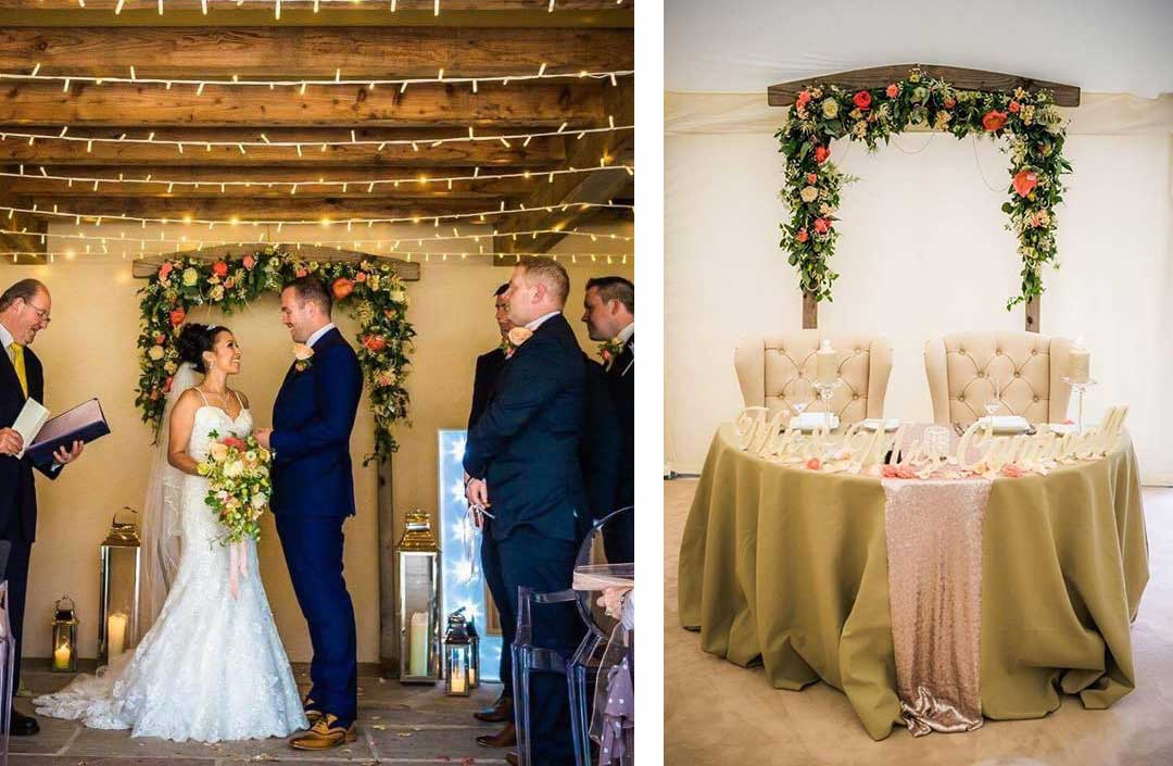 Flower arch at wedding ceremony and then at reception