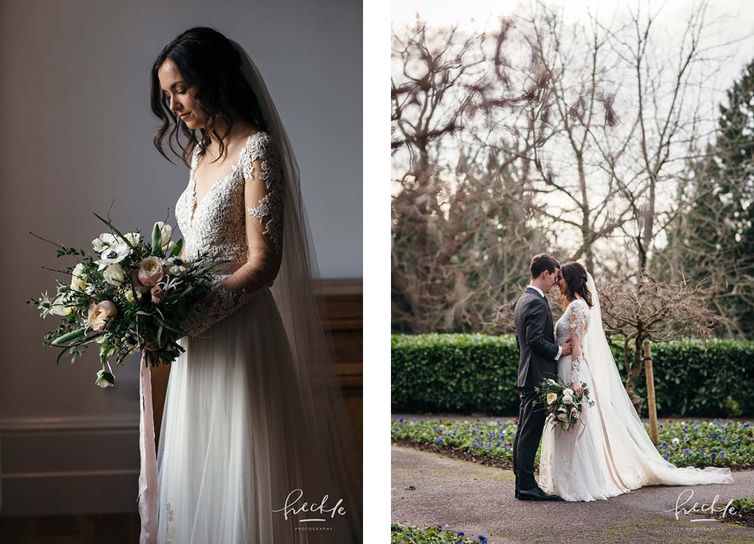 Bride in wedding dress holding winter flowersn