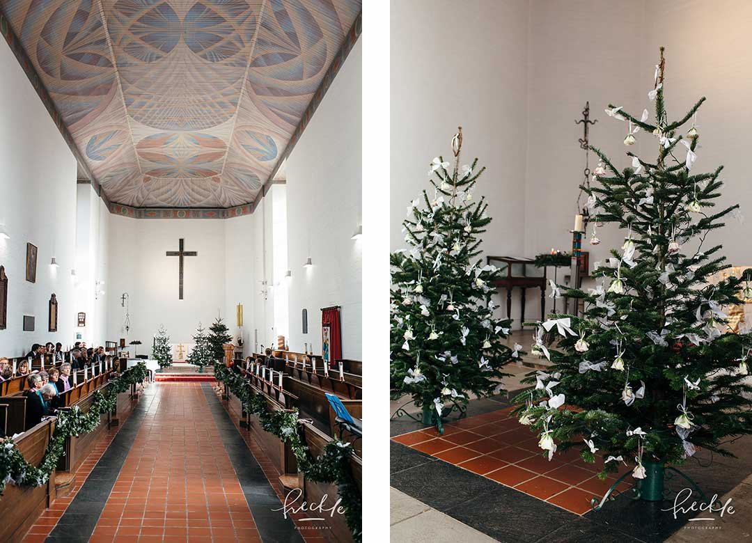 Christmas trees decorating Exeter University Chapel