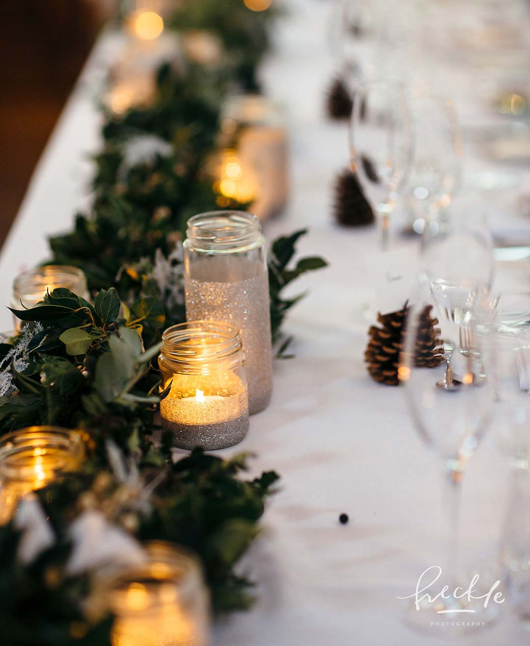 Christmas wedding flowers and tealights