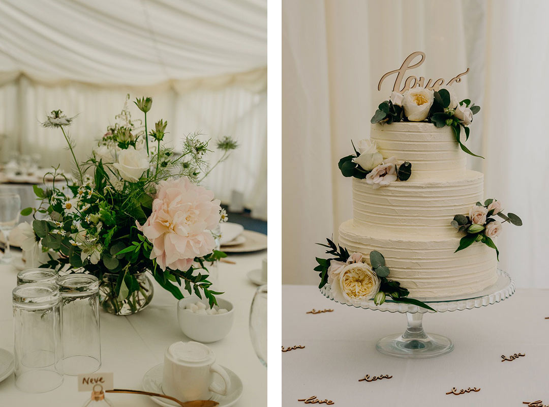 Wedding table decoration and wedding cake decorated with flowers