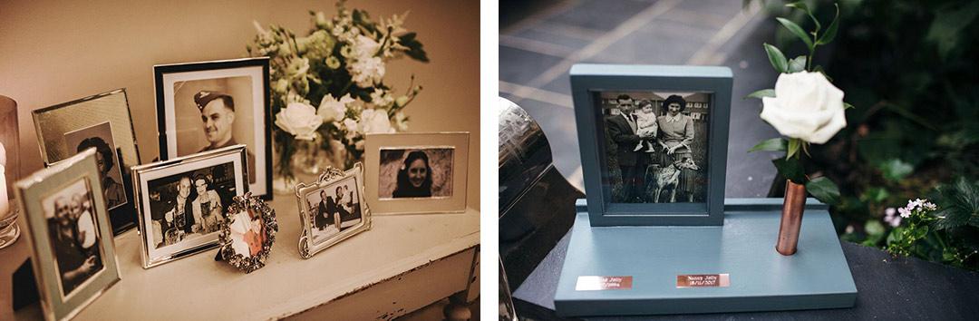 Memorial photos at a wedding
