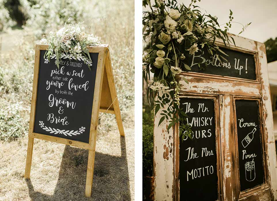 Wedding signs decorated with Dartmoor Flowers