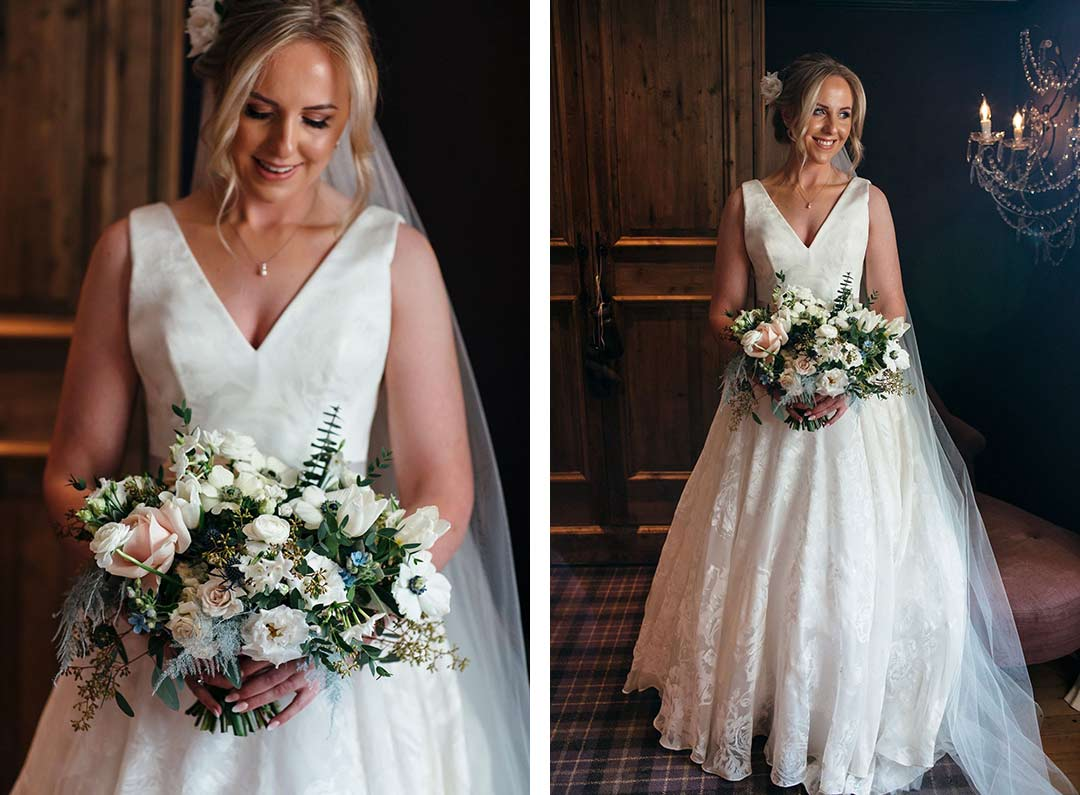 Bride with white wedding bouquet