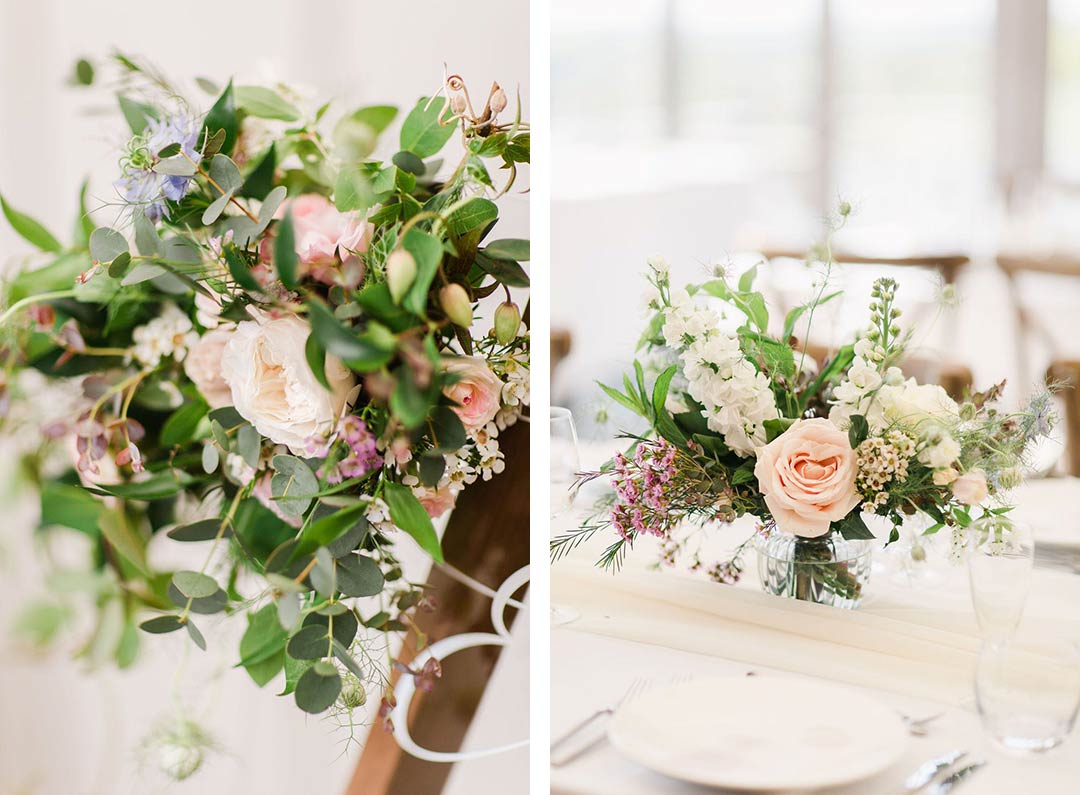 Wedding flowers decorating table and sign