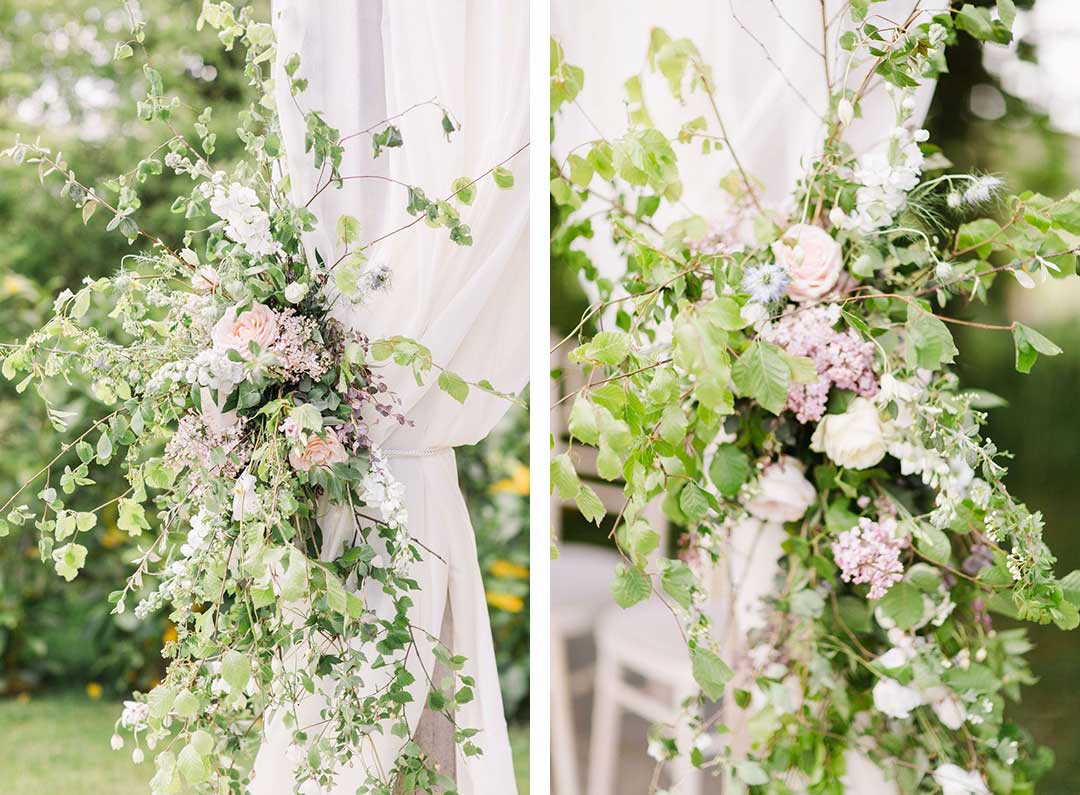 Curtains decorated with wedding flowers
