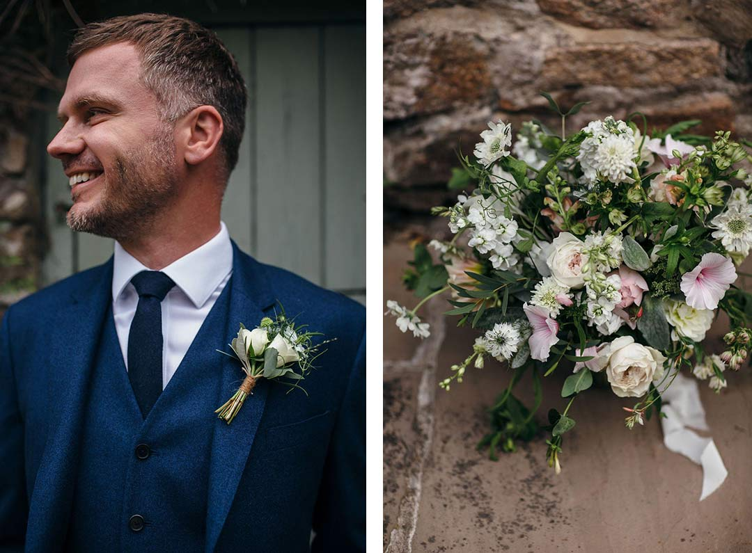 Buttonhole and wedding bouquet