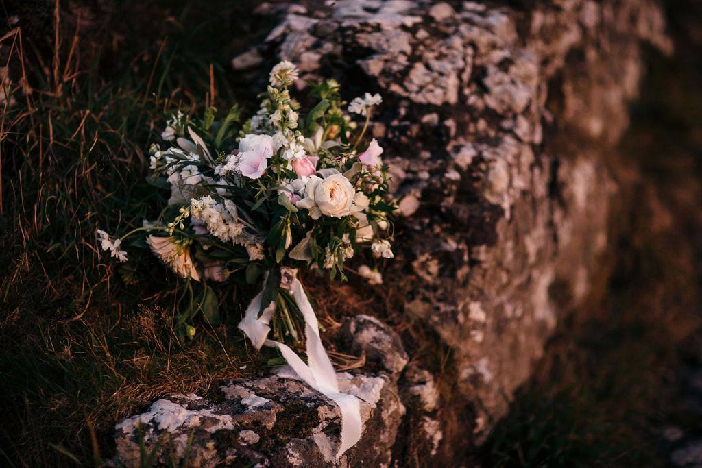 Bride's bouquet on Dartmoor granite rock