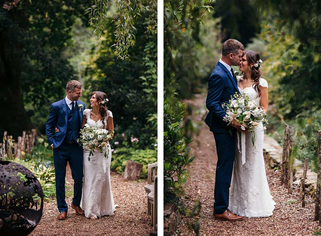 Bride and Groom walking in the garden