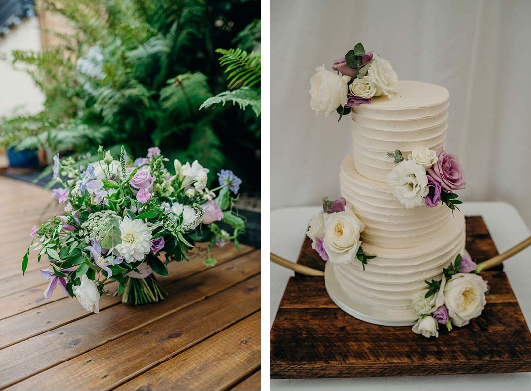 Wedding bouquet and cake decorated with matching flowers