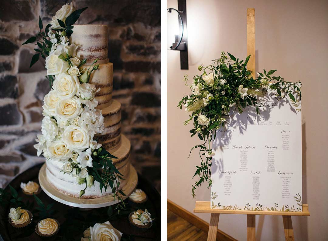 Wedding cake and seating plan decorated with green and white flowers