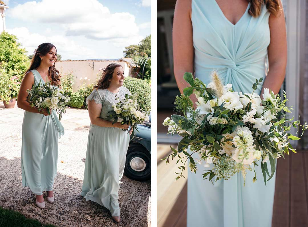 Bridesmaids arriving for wedding with green and white wedding bouquets