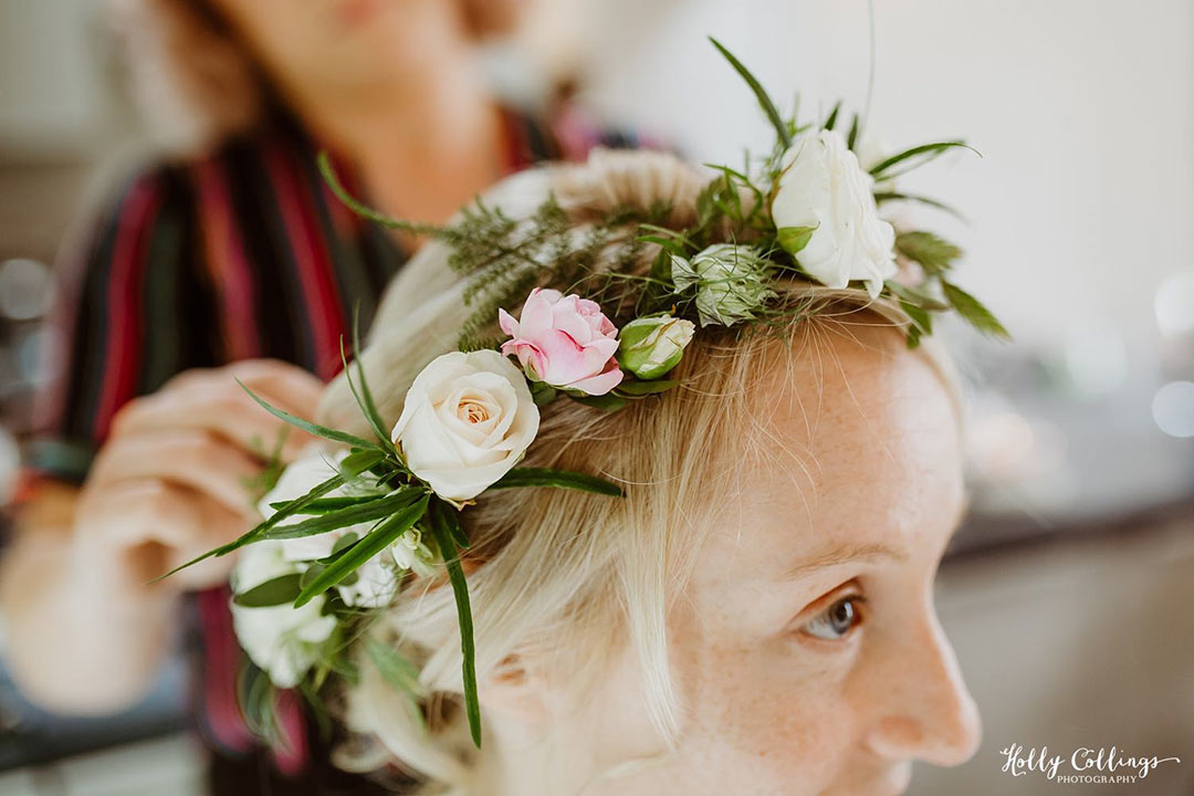 Bride's hair decorated with flowers