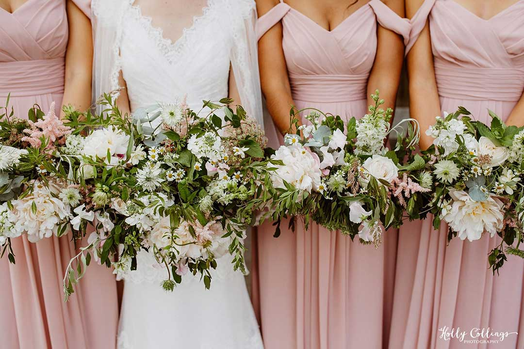 Wedding bouquets of bride and bridesmaids
