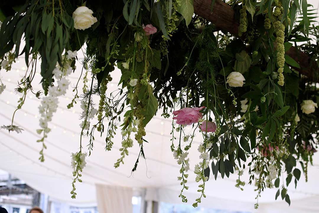 Suspended pink and white wedding flowers