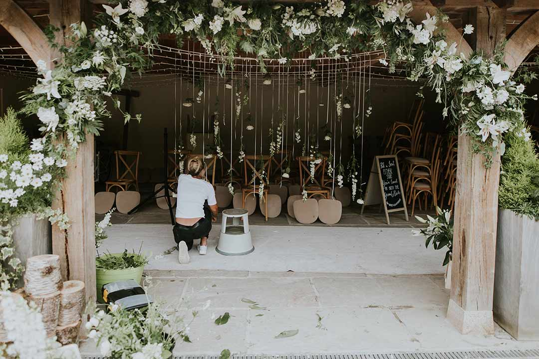 Wedding flowers being put in place