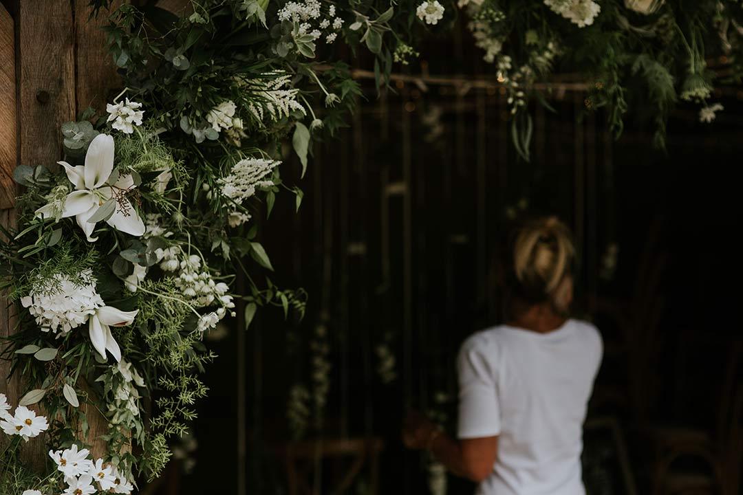 Debbie getting wedding flowers ready