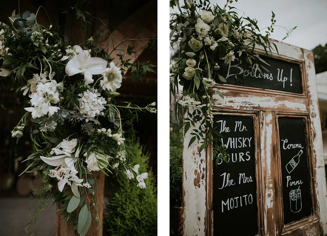 Notices decorated with white wedding flowers