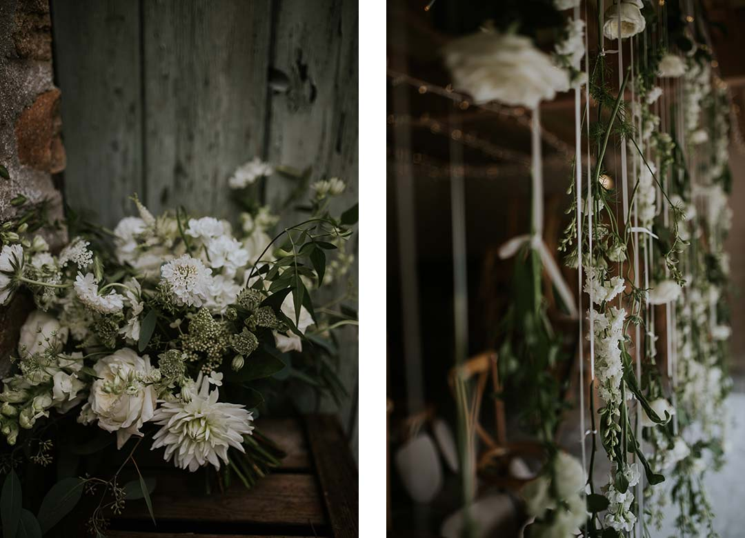 White suspended wedding flowers