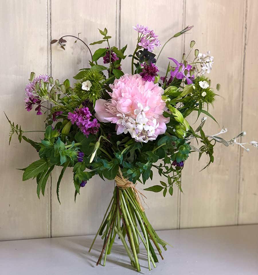 Seasonal medium bouquet of hand tied flowers