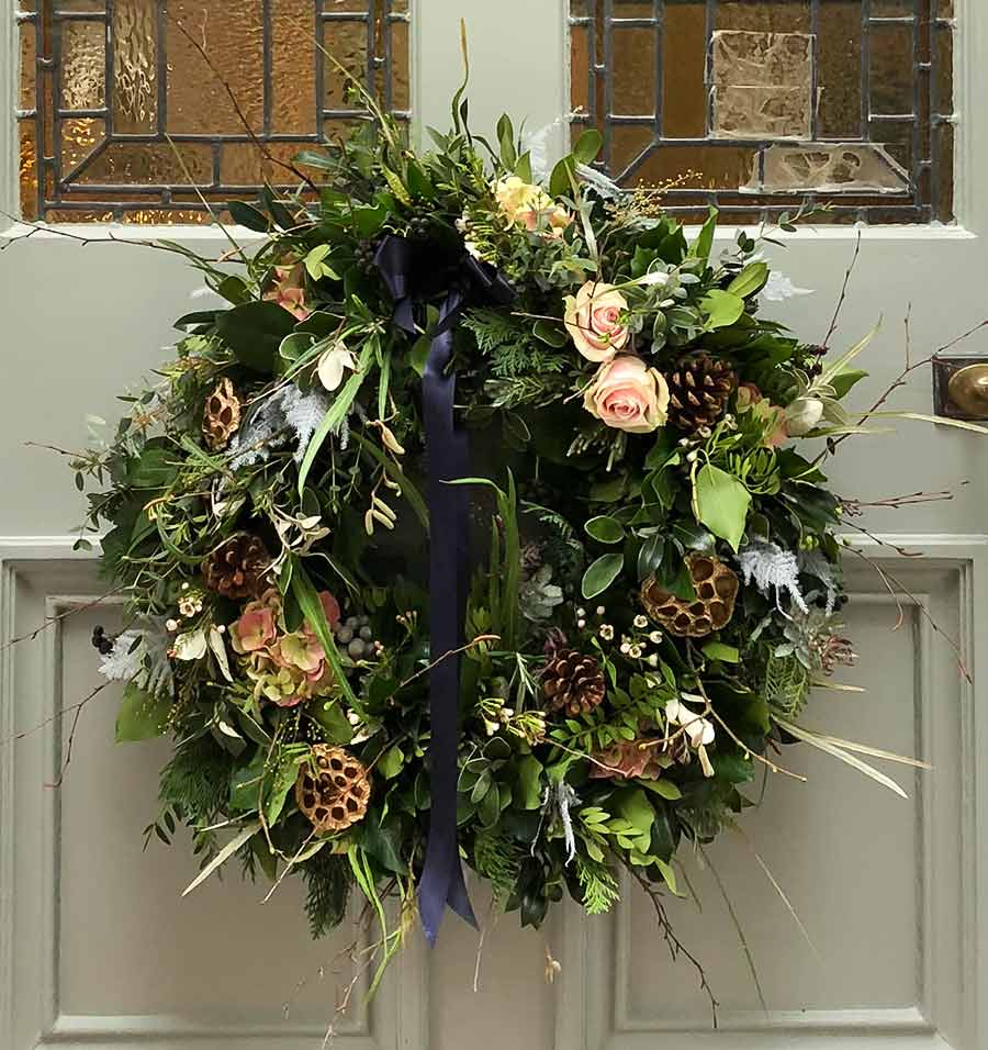 Luxury Christmas door wreath on front door