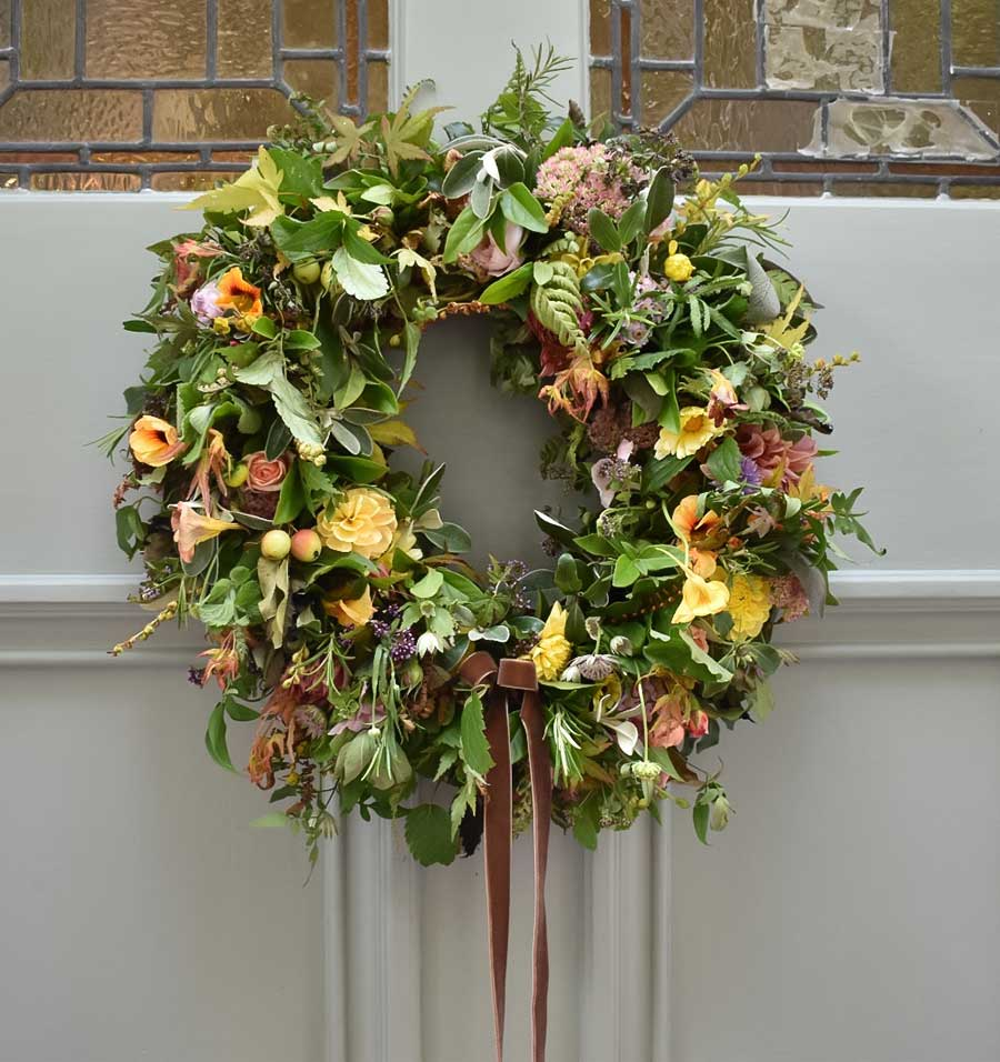 Standard Christmas door wreath on front door
